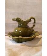 McCoy USA Ceramic Pitcher Bowl Basin Moss Avocado Green Vintage - $29.99