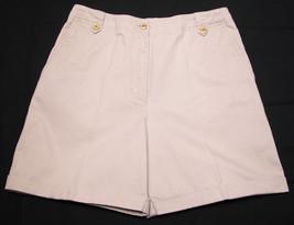 Ralph Lauren Womens Khaki Shorts sz 8 Roll Cuff Gold Button Dress Chino Golf Tan - $18.99