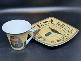 Egyptian demitasse cup and saucer King Tut and his bride in excellent condition - $9.00
