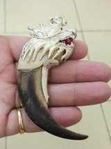 Amazing Rare K9 Biggest Black Pig tooth Dragon head Agate Lion Silver cap   - $197.01