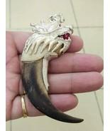 Amazing Rare K9 Biggest Black Pig tooth Dragon head Agate Lion Silver cap   - $197.01