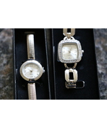 Ladies Silver Bracelet Watches Rinestone Ribbed and Bold Link Avon Lot of 2 - $28.00
