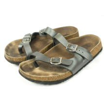 Mephisto Metallic Leather Toe Ring Strap Cork Footbed Sandals Womens Size 6 - $59.99