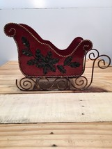 """Red Metal Decorative Ornate Sleigh Christmas Holiday 8.5"""" Height x 10"""" L... - $51.08"""