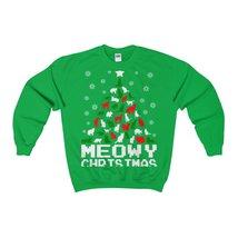 meowy christmas cat tree ugly sweatshirt - $29.95+