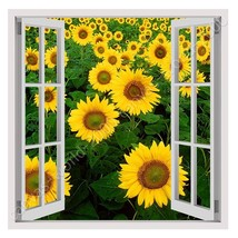 CANVAS (Rolled) Sunflower Field Fake 3D Window Wall Decor Painting Artwork - $18.31+