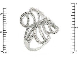Glitzy Pave Clear AAA Cubic Zirconia Open Filigree Knuckle Ring-Rhodium ... - $39.99