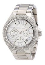 New Michael Kors Camille Silver Chronograph Crystal MK5634 Wrist Watch f... - $128.65