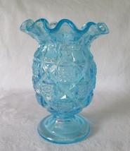 Westmoreland Old Quilt, Ice Blue Carnival, Celery Vase - $34.00