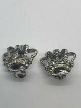 Pretty Vintage Silvertone Crown Clip On Earrings - $9.89