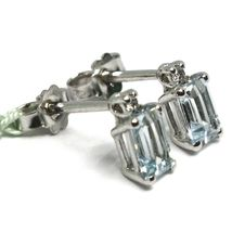 18K WHITE GOLD AQUAMARINE EARRINGS 0.90 EMERALD CUT, DIAMONDS, MADE IN ITALY image 3