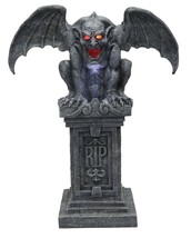 Gargoyle RIP Animated Prop Statue Graveyard Halloween 40 inch Winged FAS... - £150.52 GBP
