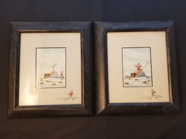 Lot of 2 Signed & Framed C. Begay Navajo Santa Clause Watercolor Paintin... - $96.95