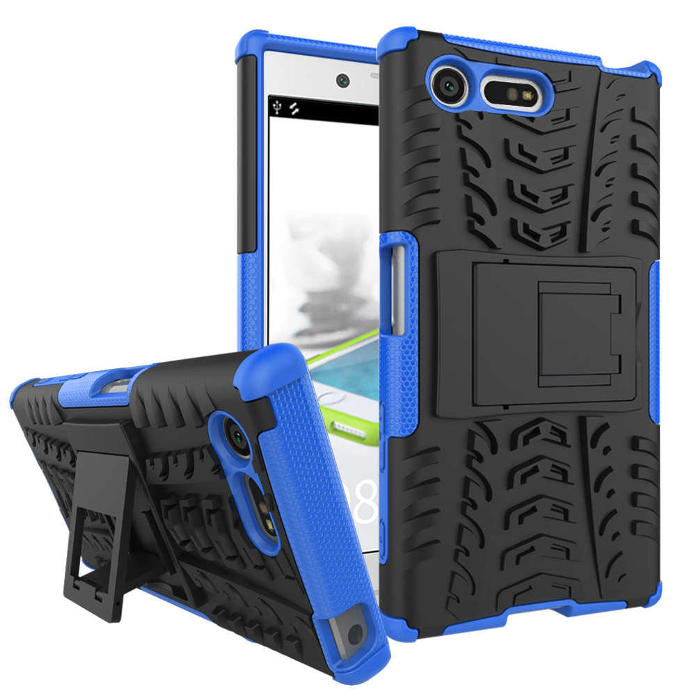 Rid armor dual layer kickstand protective case for sony xperia x compact blue p20161012150239228