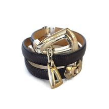 Brighton Chain Belt Leather Black Skinny Silver Dangle Charm Triangle Me... - $28.66