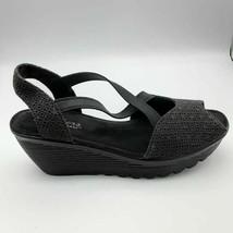 Skechers Womens Parallel Piazza Slingback Sandals Black Wedge Heel Memory Foam 9 - $37.61