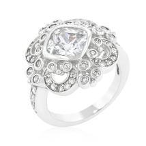 Elegant Clear Cubic Zirconia Crest Ring - $44.00