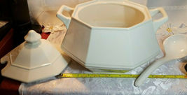 VINTAGE CREAM COLORED SOUP TUREEN W/ COVER AND LADLE GLAZED PORCELAIN image 5