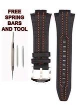 Seiko Sportura SNA453P1 27mm Orange Stitch Black Leather Watch Strap Ban... - $48.51