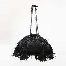 "Chanel Black Quilted Calfskin Leather ""Paris Dallas"" Fringe Bucket Bag - $2,965.00"