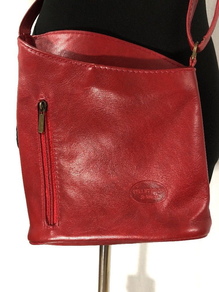 Primary image for Pelletreria Di Mario Red Leather Crossbody Purse Butter Soft Made In Italy