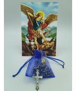 St.Saint Michael Archangel Rosary Glass San Miguel Arcángel Necklace Jesus - $11.88