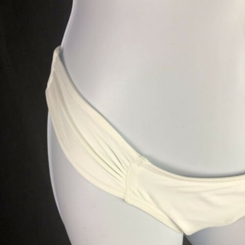L Space Monique Side Ruched Bikini Bottoms Hipster White Womens XS Extra Small