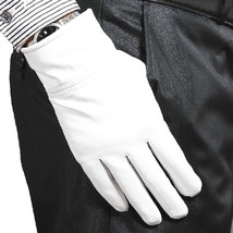 100% Genuine Leather(NO PU) White/ Black Warm winter Gloves Wedding Part... - $12.86+