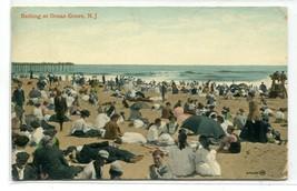 Bathing Beach Scene Ocean Grove New Jersey 1909 postcard - $6.39
