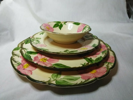 Vintage Franciscan China Desert Rose 4 piece plate set 3 size plates and 1 bowl image 1