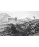 ITALY Greek Temple at Segesta - Original Print Steel Engraving - $26.70