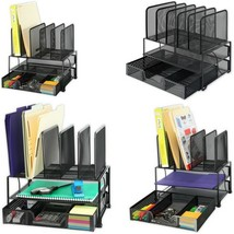 Mesh Desk Organizer Sliding Drawer 2 Tray 5 Upright Sections - $43.19