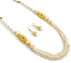 Indian Bollywood Gold Plated Yellow White Beads Kundan Necklace  Earrings Set - $13.65