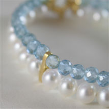 18K YELLOW GOLD BRACELET WITH 2 STRANDS PEARLS AND AQUAMARINE 7 IN MADE IN ITALY image 3