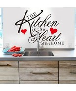 Witkey The Kitchen Is The Heart Of The Home Red Heart Wall Decal Sticke... - $22.88