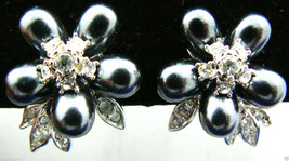 Nolan Miller signed Silver tone metal Crystal Black pearl faux Clips Ear... - $71.24