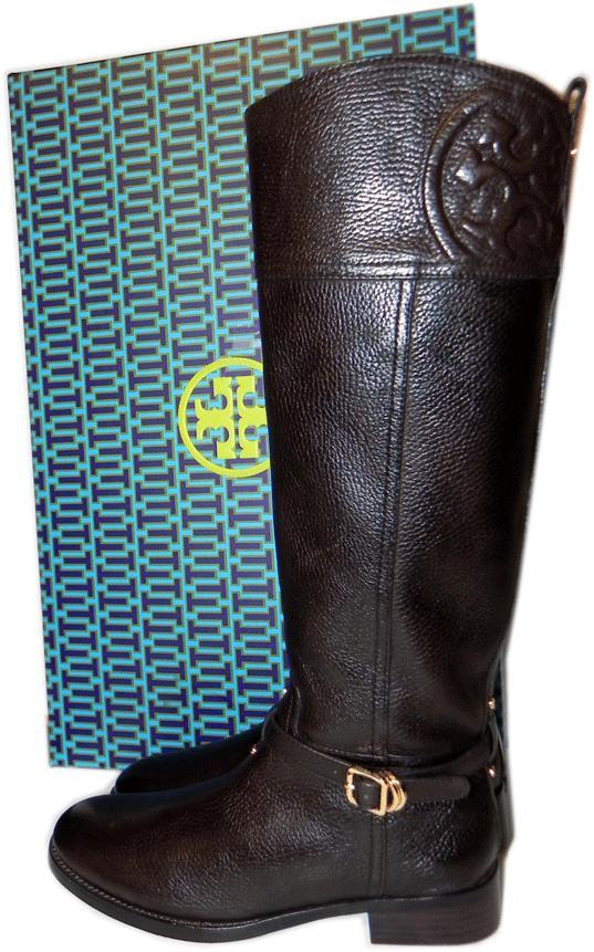 3e4afe64009 Tory Burch Tumble Coconut Leather Riding Boot Flat Equestrian Bootie 6.5  Logo