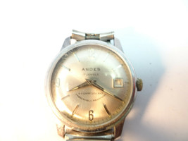 VINTAGE 1970'S ANDES 17 JEWEL A-3000 WINDUP DATE WATCH RUNS - $95.00