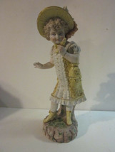 VINTAGE GERMAN BISQUE PORCELAIN #457 15 GIRL YELLOW DRESS HOLDING JACK I... - $9.99