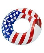 "Pool Floats Tube Float Water Vinyl Swim Ring 36"" Inflatable Patriotic Am... - $282,00 MXN"