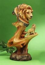 UG 9.5 Inch Lion and Cub in The Wild Faux Wood Bust Scene Figurine - $24.49