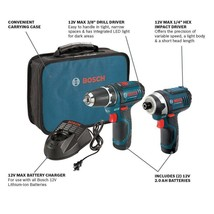 Bosch Max 12 V 2-Tool Lithium-Ion Cordless Combo Kit - CLPK22120 - $135.00