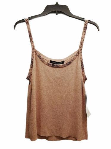NWT NEW Women Carmen Marc Valvo Pink Beaded Spaghetti Strap Tank Top Size L $255