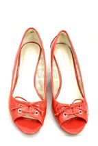 Etienne Aigner Wedges Pippa Women's Open Toe Heels 9.5M Coral Pink Red - $19.99