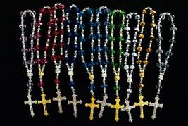 "6"" Rosary Bracelet Baptism Wedding Favor Gift Gold Silver Cross Clear 12... - $5.64+"