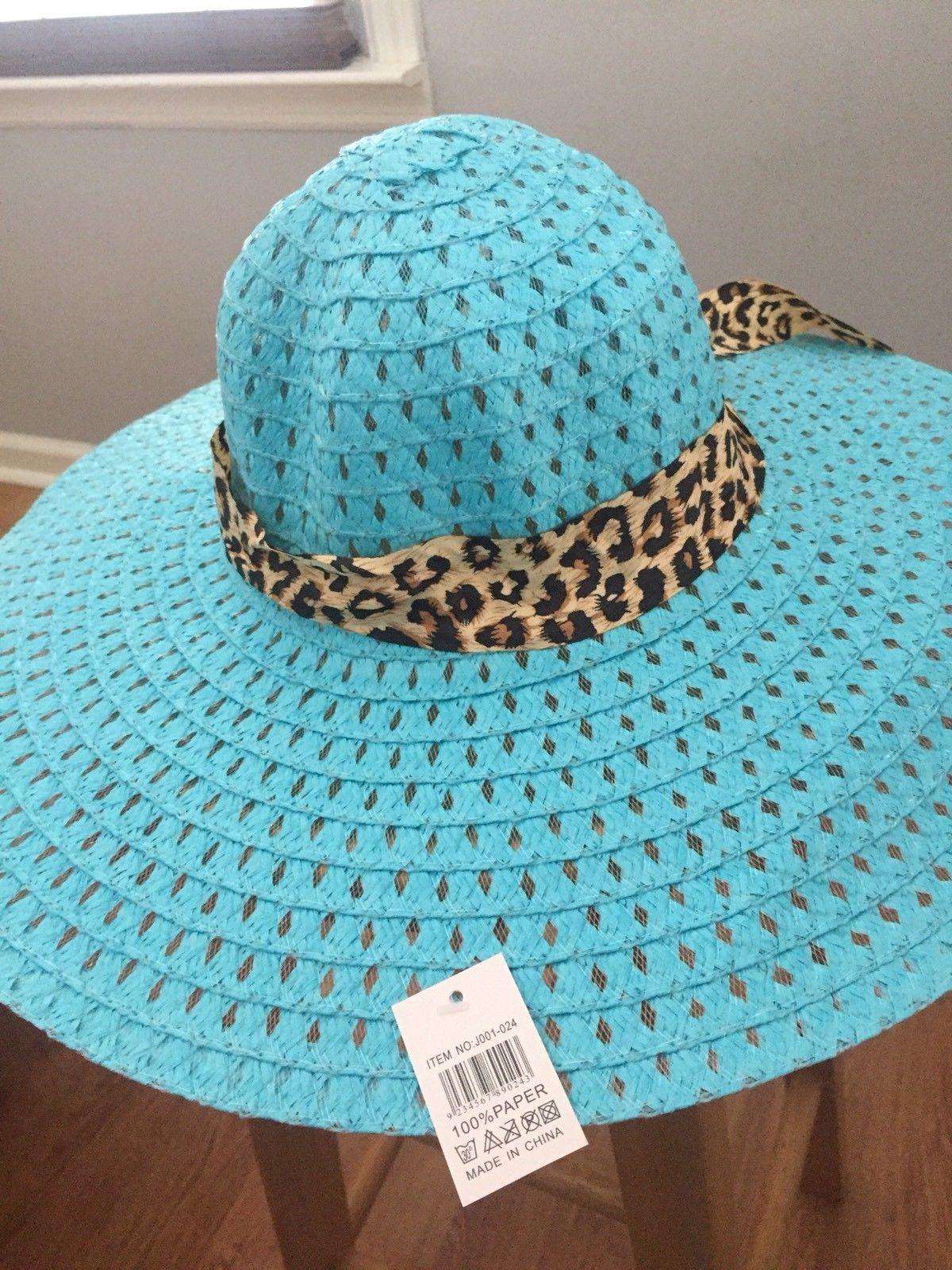 (BLUE) Sun-Floppy-Hat--Beach-Summer-Wide-Brim-With-Animal-Print-Ribbon