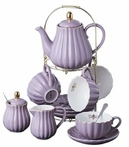 Jusalpha Fine China Pink Coffee Cup/Teacup, Saucer, Spoons, Teapot and C... - $63.60