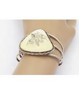 925 Sterling Silver - Vintage Floral Carving Split Shank Cuff Bracelet -... - $155.96