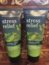 Bath and Body Works Stress Relief Eucalyptus Basil Body Cream - Set of 2! - $28.15