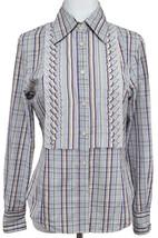ETRO Blouse Shirt Top Button Down Long Sleeve Plaid Cotton Sz 44 - $142.50